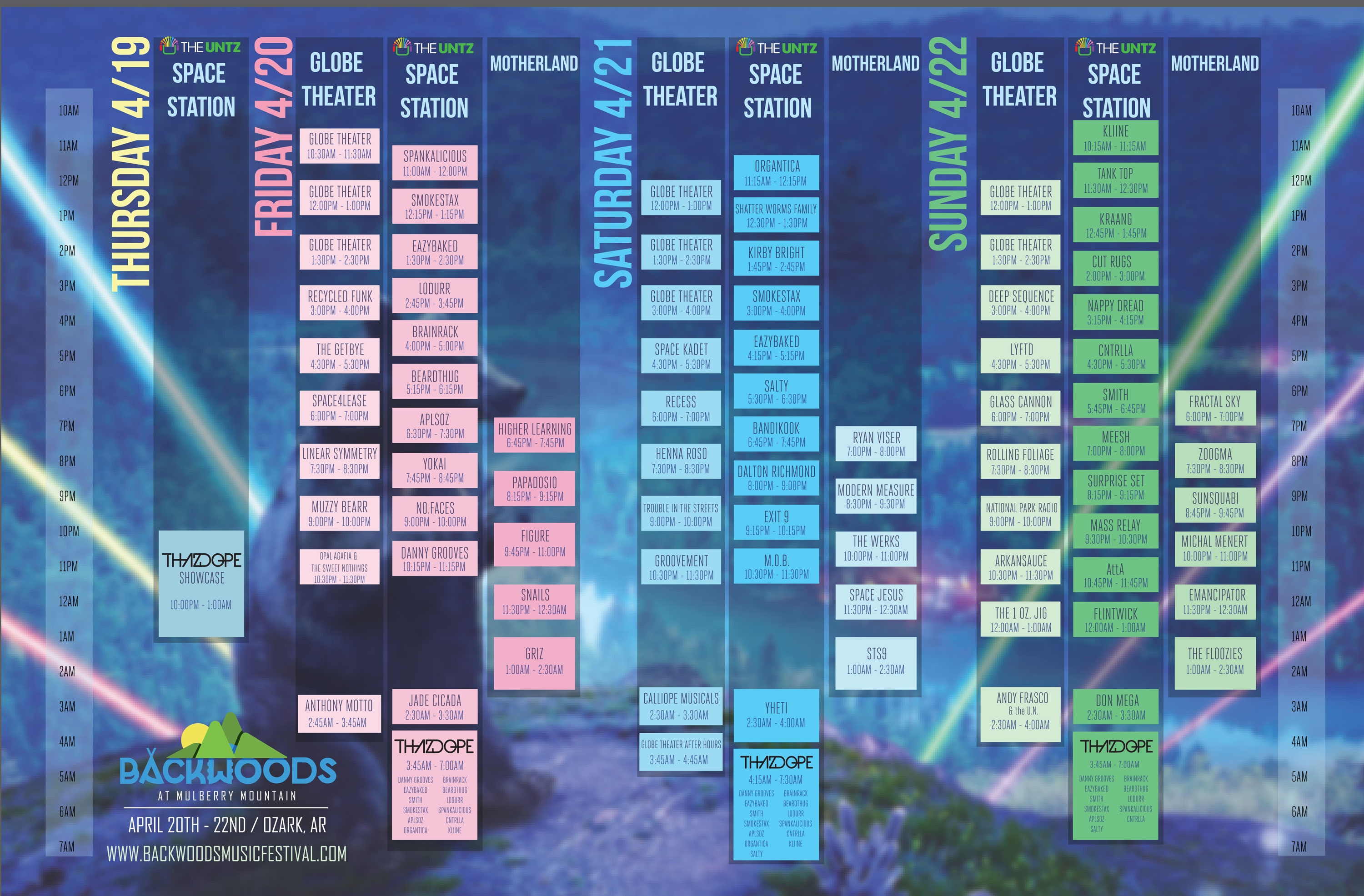 Backwoods 2018 Schedule