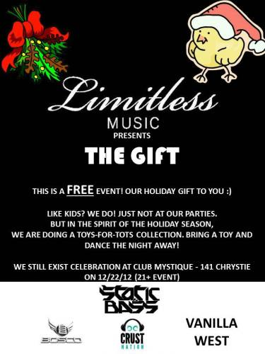 Limitless Music presents The Gift w/ Static & Bass, Bosco, Vanilla West