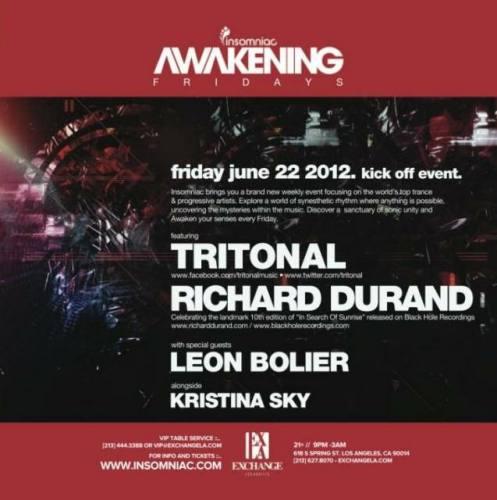 Tritonal, Richard Durand, Leon Bolier, Kristina Sky @ Exchange La Friday June 22nd