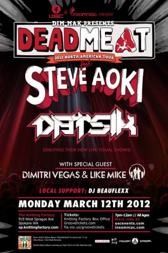 STEVE AOKI & DATSIK - DEADMEAT 2012 Tour in Spokane