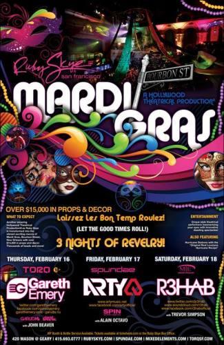 Mardi Gras w/ Arty @ Ruby Skye