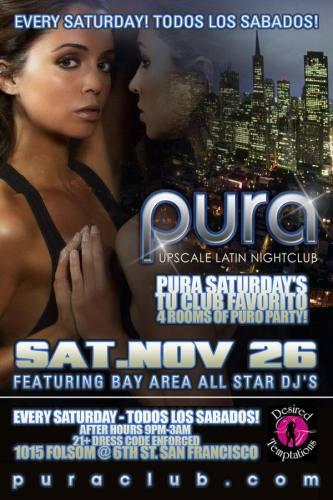 Pura Saturdays 11/26