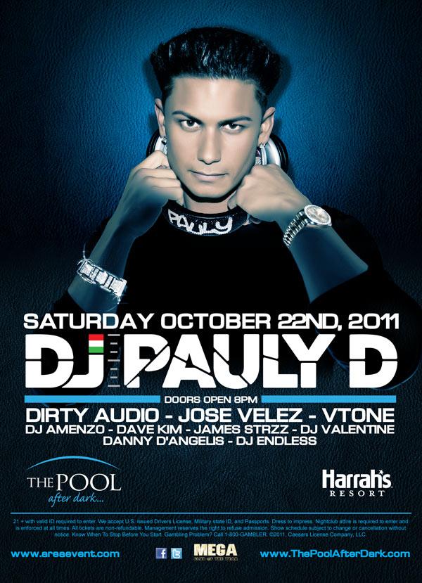 10 22 2011 : DJ Pauly D : The Pool at Harrahs Atlantic City New Jersey
