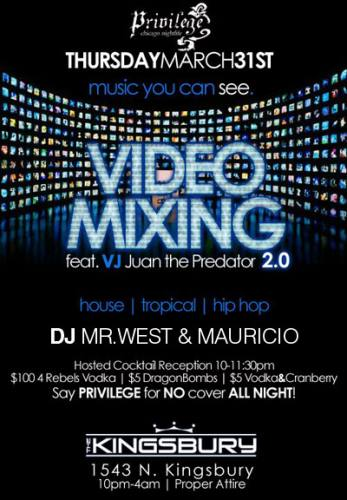 LIVE Video Mixing THURSDAYS at The Kingsbury Chicago