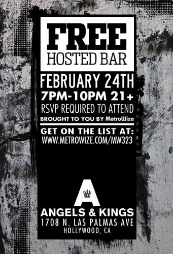 MW323: FREE DRINKS in Hollywood 7-10PM