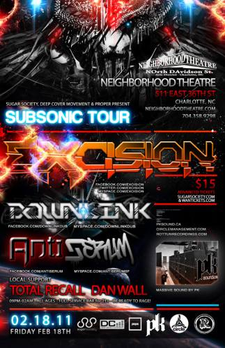 Excision Subsonic Tour in Charlotte w/ Downlink & Antiserum