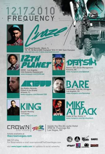 FREQUENCY: CRAZE/12TH PLANET/DATSIK @ RIO