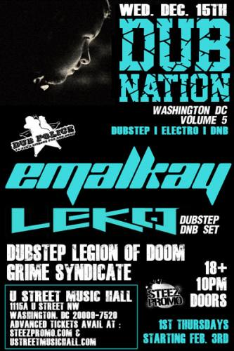 Dub Nation Volume 5  w/ Emalkay @ U Street Music Hall