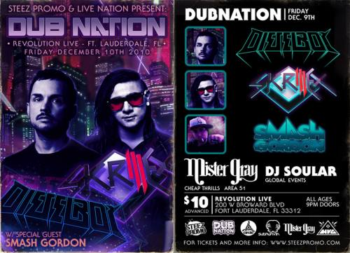 DUB NATION INVADES FT LAUDERDALE - SKRILLEX & DIESELBOY