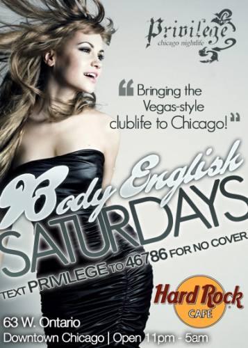 Body English Saturdays at Hard Rock Cafe Chicago