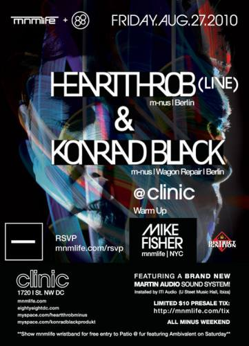 mnmlife presents Heartthrob (LIVE) + Konrad Black w/Mike Fisher