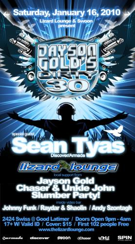 Jayson Gold's Dirty 30 w/ special guest Sean Tyas