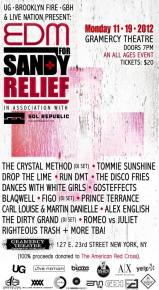 EDM for Sandy Relief benefit concert in New York City next week featuring The Crystal Method