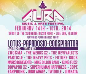AURA Music & Arts Festival 2014 (Feb 14-16 - Live Oak, FL) releases schedule!