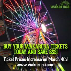 Wakarusa (June 5-8 - Ozark, AR) ticket prices increase March 4