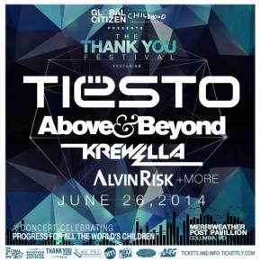 Tiesto, Above & Beyond, Krewella to headline Thank You Festival - June 26 - Columbia, MD