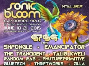 STS9, Shpongle headline SONIC BLOOM 2015 June 18-21 Rye, Colorado